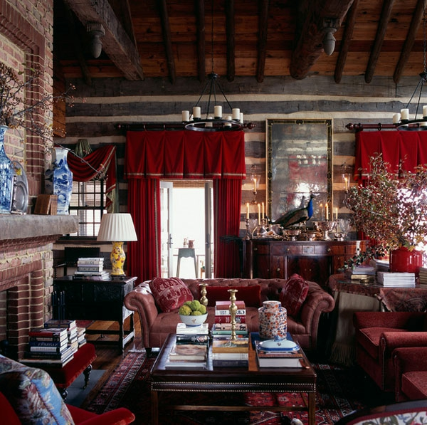ziegelwand wohnzimmer Samt Gardinen und Vorhänge