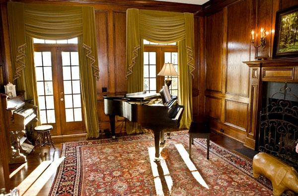 Samt Gardinen Vorhänge teppich fenster piano