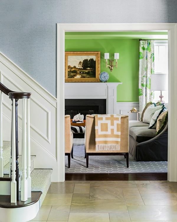 bettdecke grün wand  Einrichtungsideen fürs Wohnzimmer