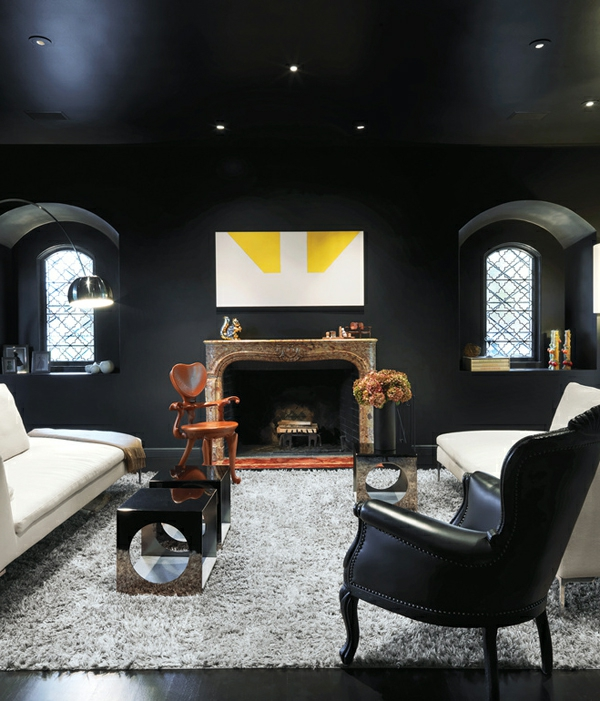 Wohnzimmer Dunkel Schicke Einrichtungsideen Schwarz Leder