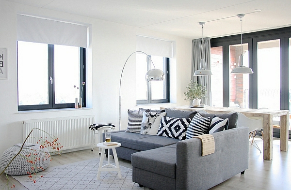 Schicke Einrichtungsideen Wohnzimmer grau ecksofa