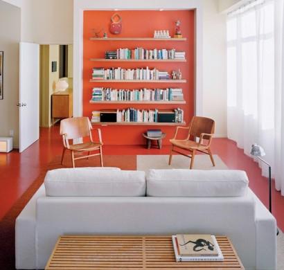Schicke-Einrichtungsideen-fürs-Wohnzimmer-orange-rot-gemischt