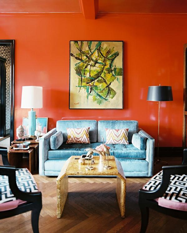 schicke einrichtungsideen fürs wohnzimmer - Wandgestaltung Wohnzimmer Orange