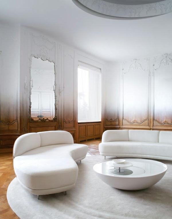 Schicke Einrichtungsideen fürs Wohnzimmer raffiniert weiß mobiliar