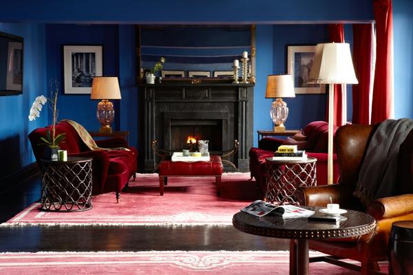 Schicke Einrichtungsideen für  Wohnzimmer samt rot sessel