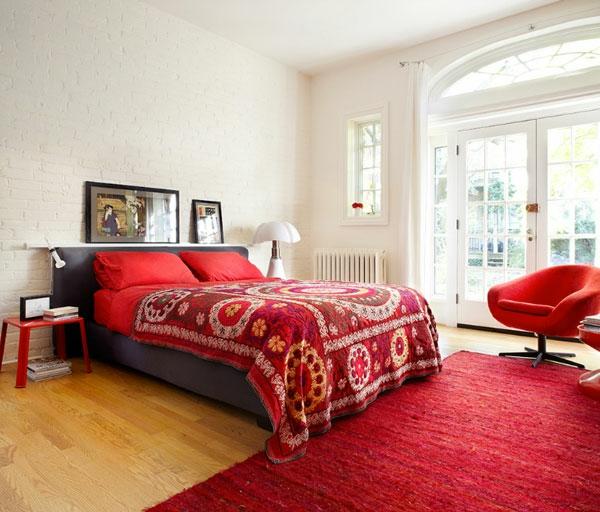 Wohnideen Schlafzimmer Orientalisch  Schlafzimmer in Rot und Weiß