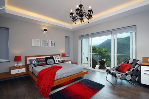 wunderschöne schlafzimmer in rot und weiß, Schlafzimmer design