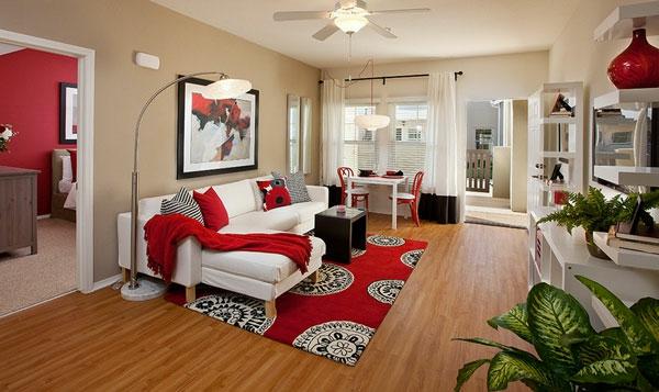 wunderschöne schlafzimmer in rot und weiß