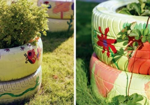gartengestaltung blumenmuster reifen Gartendeko DIY