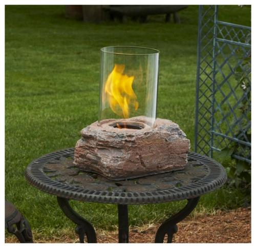 gartengestaltung feuerstelle glas stein Selbstgemacht Gartendeko DIY