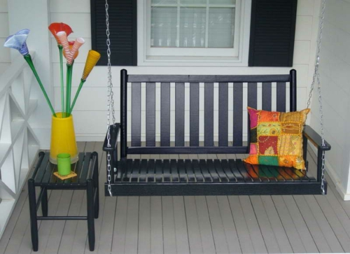 frühling sitzbank kissen schaukel Selbstgemacht Gartendeko DIY