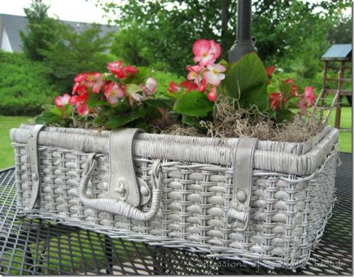 Selbstgemacht Gartendeko DIY gartengestaltung korb rattan