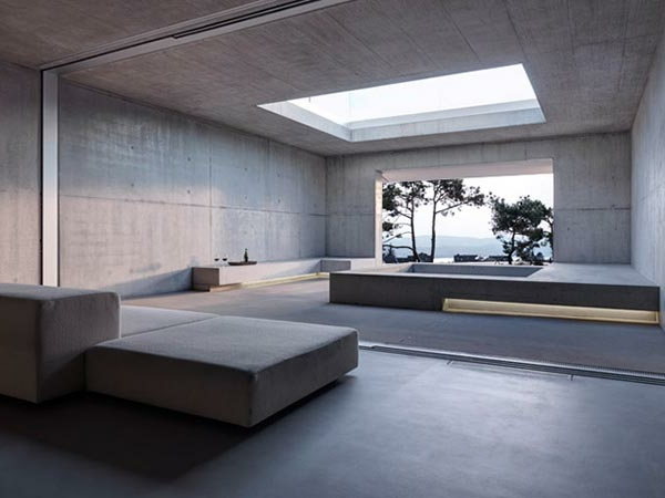 wandgestaltung Sichtbeton zu Hause industriell dachfenster