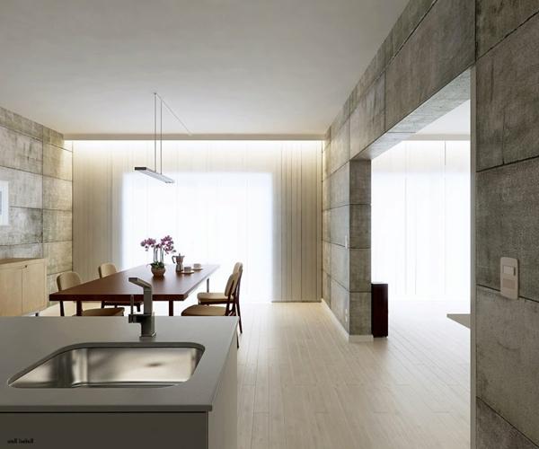 wandgestaltung Sichtbeton zu Hause industriell indirekt licht