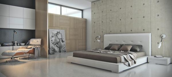 wandgestaltung industriell stil schlafzimmer