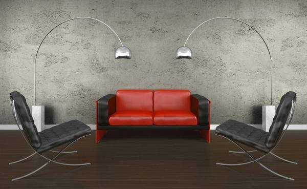 Sichtbeton wandgestaltung industriell stil sofa