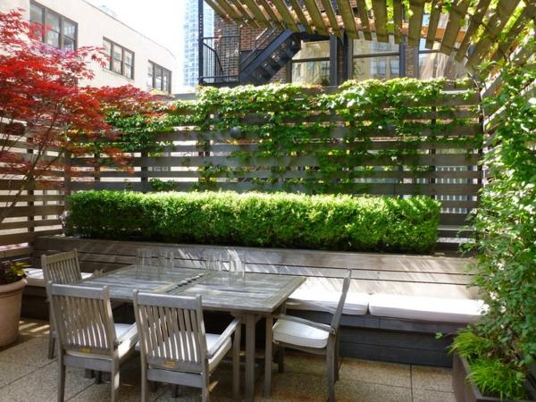 beleuchten pflanzen Sichtschutz im Garten überdachung holzplatten