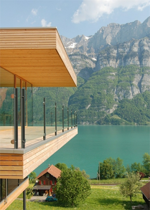 holz glas natur gebirge terrassengeländer und balkongeländer