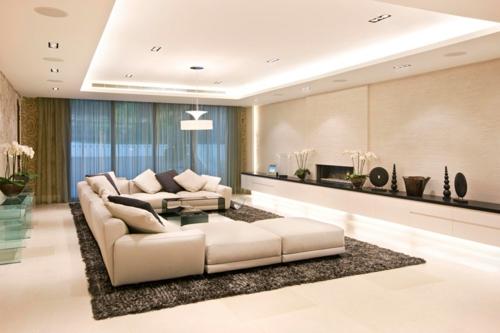 Wohnzimmer modern  33 Einrichtungsideen für tolle Deckengestaltung im Wohnzimmer