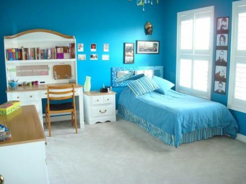 blau ambiente Einrichtungsideen für Jugendzimmer