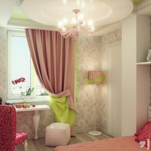 mädchen  Einrichtungsideen für Jugendzimmer gardinen rosa