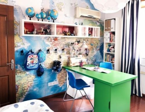 urban regale erdkugel Einrichtungsideen für Jugendzimmer grün schreibtisch