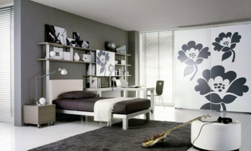 urban stil schwarz weiß blumen Jugendzimmer