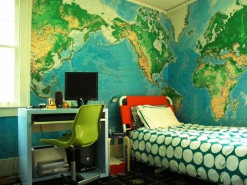 wohnideen weltkarte wandgestaltung Jugendzimmer