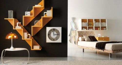 wandregale modular orange Einrichtungsideen für Jugendzimmer