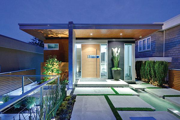 beton platten gras holz Veranda gestalten gemütlich