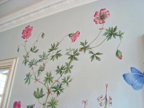 Wände Wohnideen für erstaunliche Wanddekoration blümchen