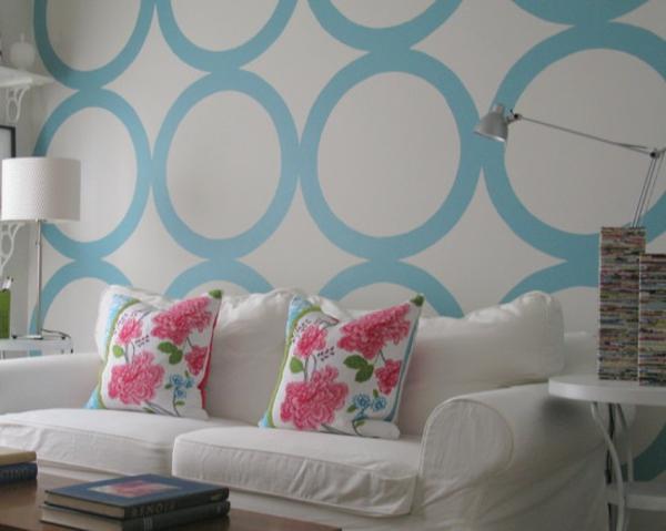 Wohnideen für erstaunliche Wanddekoration blau kreise