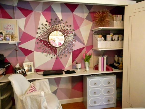 Wohnideen rosa monochromatisch Wanddekoration geometrisch