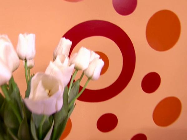 Wohnideen frisch Wanddekoration orange punkte