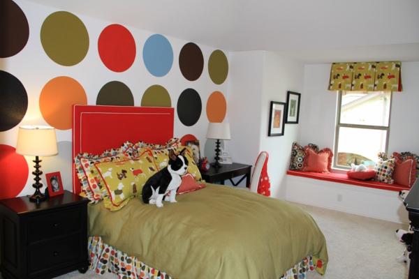 Wohnideen für erstaunliche Wanddekoration punkte bunt