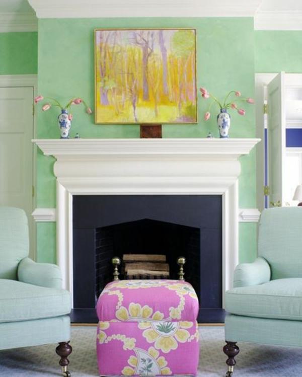 Wandfarben fürs Wohnzimmer feminine mintgrün rosa hocker
