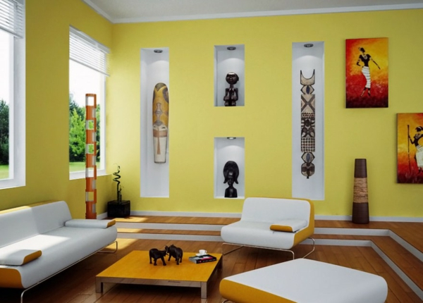 Wandfarben fürs Wohnzimmer hell gelb lebhaft indianisch symbole motive