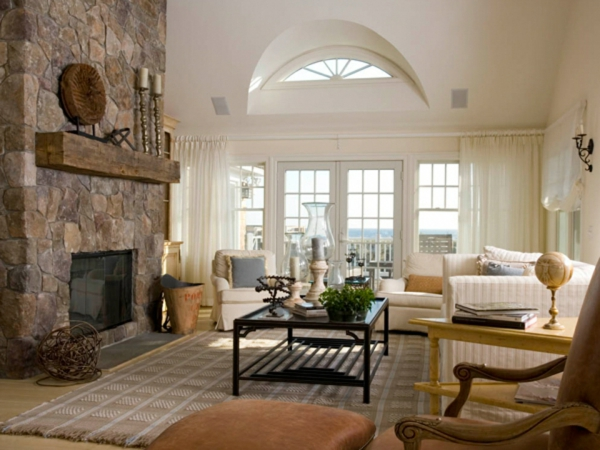 Wandfarben fürs Wohnzimmer naturstein kamin sachlich tisch