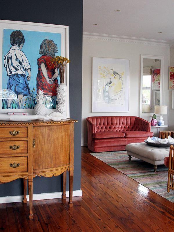 Wandfarben fürs Wohnzimmer traditionell klassisch kommode anrichte