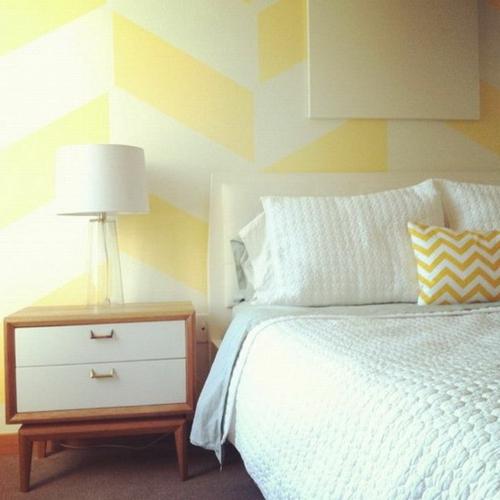 geometrisch formen buttergelb muster ideen wanddekoration - Wand Muster Ideen