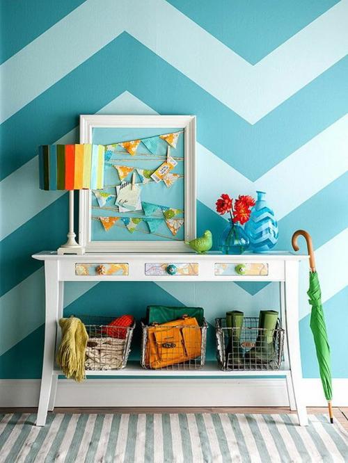 geometrisch formen farben chavron wandmuster ideen wanddekoration - Wand Muster Ideen