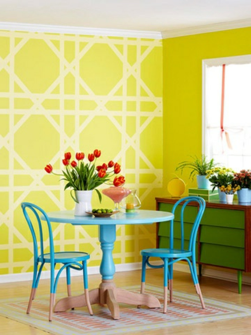 Wandmalerei Kinderzimmer Neutral : grell gelb linien Ideen wanddekoration geometrisch formen gelb
