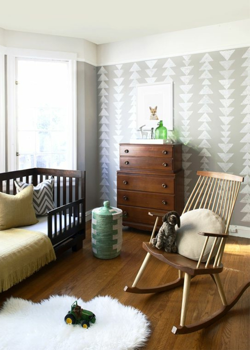 Wandmalerei Kinderzimmer Neutral : dreiecken Wandmuster Ideen wanddekoration geometrisch formen