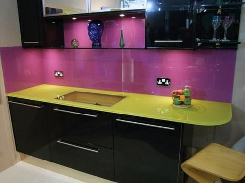 Küche Glasrückwand glanzvoll farben leuchtend block