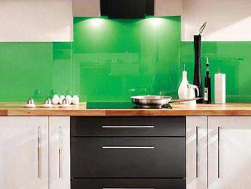 glas Küchenrückwand glanzvoll farben leuchtend grün gras