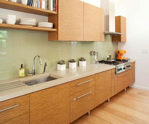glas Küchenrückwand glanzvoll farben leuchtend holz