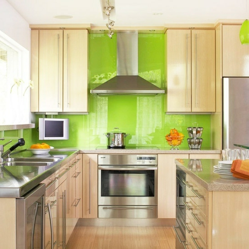 glas ideen Küchenrückwand glanzvoll farben leuchtend kühn