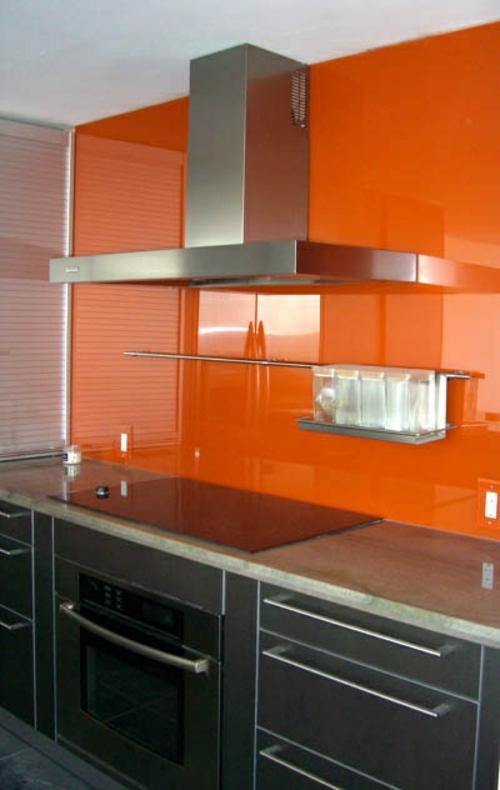 glanzvoll farben  Küche Glasrückwand leuchtend orange
