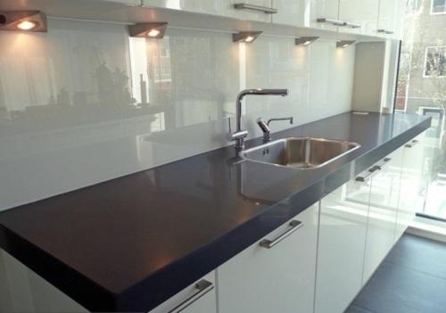 glanzvoll farben Küche Glasrückwand leuchtend spüle