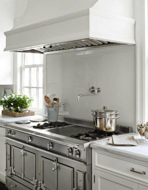glanzvoll farben Küche Glasrückwand leuchtend weiß grau